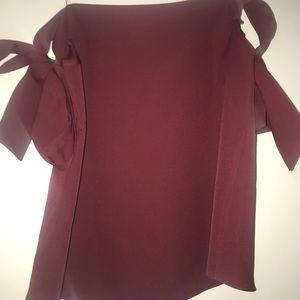 Maroon off the shoulder bow top
